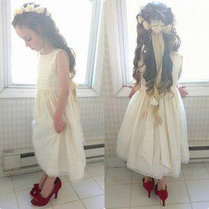 Cinderella Ivory Sleeveless Lace Flower Girl Dress